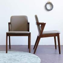 Livinia Aneta Dining Chair Paded with Faux Leather Pu Cusion, Solid Hardwood Armchair Leisure Chair for Home Office Bedroom Living Room Waiting Room Apartment, Set of 2 (Walnut)