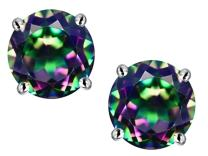 Star K Choice of 10k Gold or Sterling Silver Classic Round 7mm Four Prong Stud Earrings