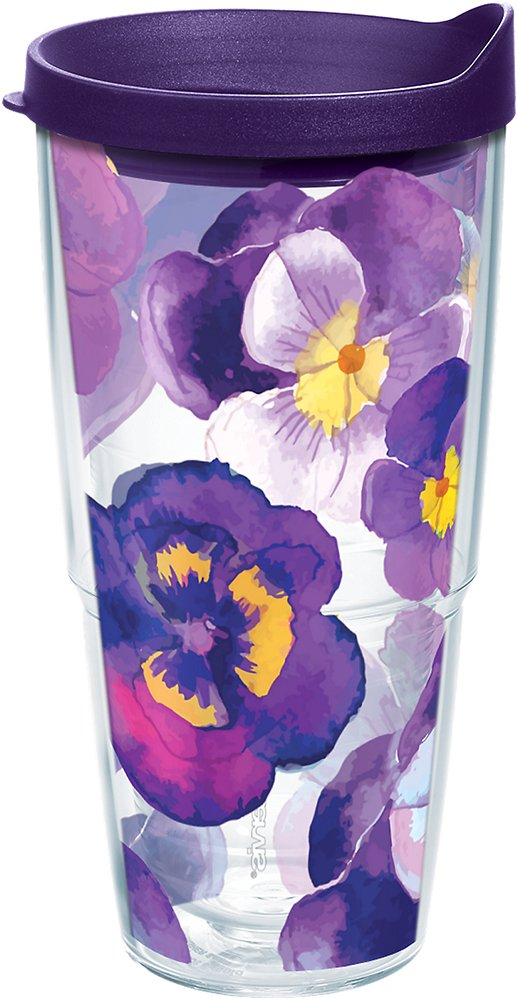 Tervis 1243668 Watercolor Pansy Tumbler with Wrap and Royal Purple Lid 24oz, Clear