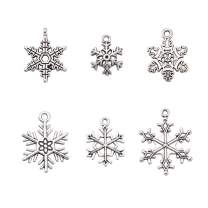 Pandahall 5Sets/30pcs Mixed Vintage Tibetan Style Alloy Snowflake Pendants Christmas Jewelry Making Necklace Charms Cadmium Free Lead Free Antique Silver