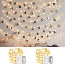 ANJAYLIA 2 Pack 100LED 33ft Fairy String Lights Battery Operated, Waterproof Twinkle Firefly Light with Remote Timer for Bedroom Garden Party Decoration Warm White