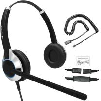 Deluxe HD-550 Double Ear Headset with Noise Canceling Microphone and U10PS Cable for Yealink T19 T20 T21 T22 T23 T26 T27 T28 T29 T32 T36 T38 T40 T41 T42 T46 T48 T52 T54, Snom and Grandstream IP Phones