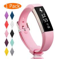 KingAcc Compatible Replacement Bands for Fitbit Alta HR, Fitbit Alta, Silicone Fitbit Alta HR Band Alta Band, Buckle Wristband Strap Women Men (1-Pack, Pink, Small)
