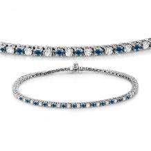 Dazzlingrock Collection 14K Round Cut Real Blue And White Diamond Ladies Tennis Bracelet, White Gold