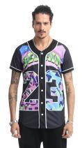 PIZOFF Men's Baseball Jersey Outdoor Sport Short Sleeve Button Down T-Shirt 3D Print Top Tees