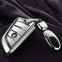 Transparent X3 Key Fob Case Compatible for BMW X5 X6 X2 X1, X6M X5M, 7 6 5 2 Series with Key Ring Silver
