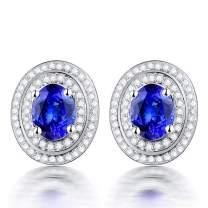 Lanmi 14K White Yellow Gold Genuine Tanzanite Diamond Dangle Drop Earrings Studs for Women Ladies Engagement Wedding