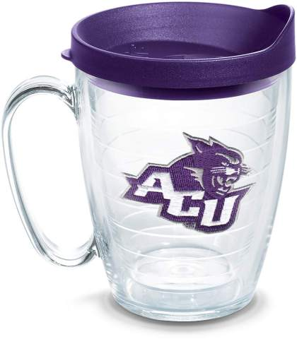 Tervis 1141471 Abilene Christian Wildcats Primary Logo Tumbler with Emblem and Royal Purple Lid 16oz Mug, Clear