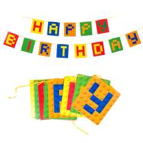 6.6ft Building Block Happy Birthday Banner Brick and Block Party Baby Boy Toddler Kids Birthday Decoration SUNBEAUTY (Yellow Red Blue Green - Banner)