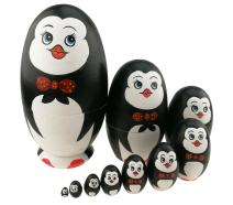 Cute Animal Theme Penguin with Bowtie Egg Shape Wooden Handmade Nesting Dolls Matryoshka Dolls Set 10 Pieces for Kids Toy Birthday Home Kids Room Decoration