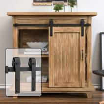 WINSOON 6.6FT Super Mini Sliding Barn Door Hardware Kit for Single Door Small TV Stands Wardrobe Cabinets, J Shape Hanger (NO Cabinet)