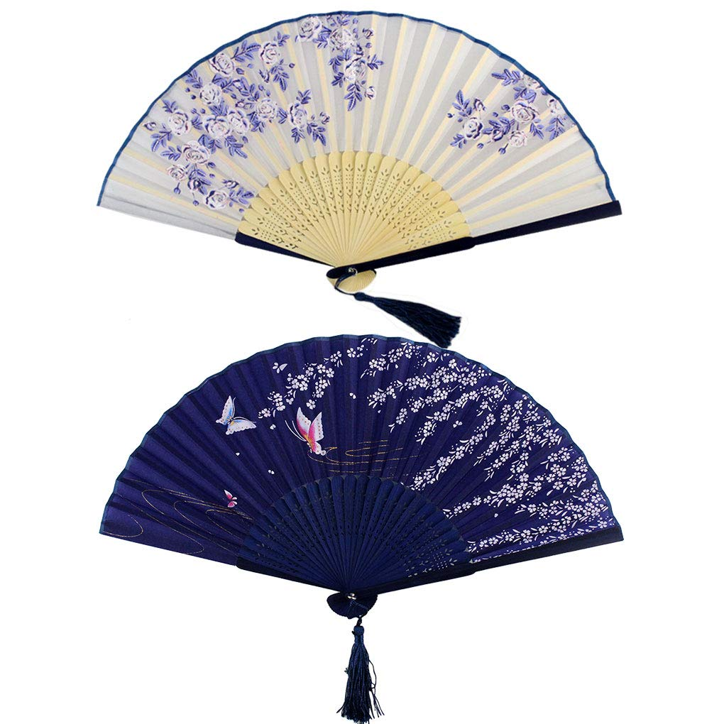 Bantoye 2 Pieces Handheld Fans, Silk Folding Fans with Bamboo Frames for Dancing Cosplay Wedding Party Props Decoration, White Blue
