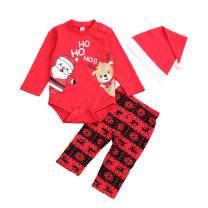 Christmas Pant Set Infant Baby Boys Girls Clothes Santa Top + Snow Pant + Hat 3pcs Xmas Unisex Outfit Set