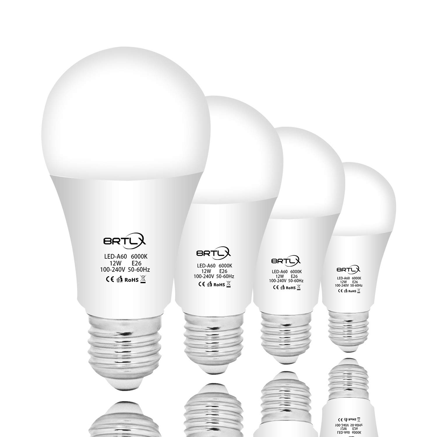 BRTLX A60 12W E26 LED Bulb 6000k Cool White 960lm 220°Not Dimmable 4 Pack