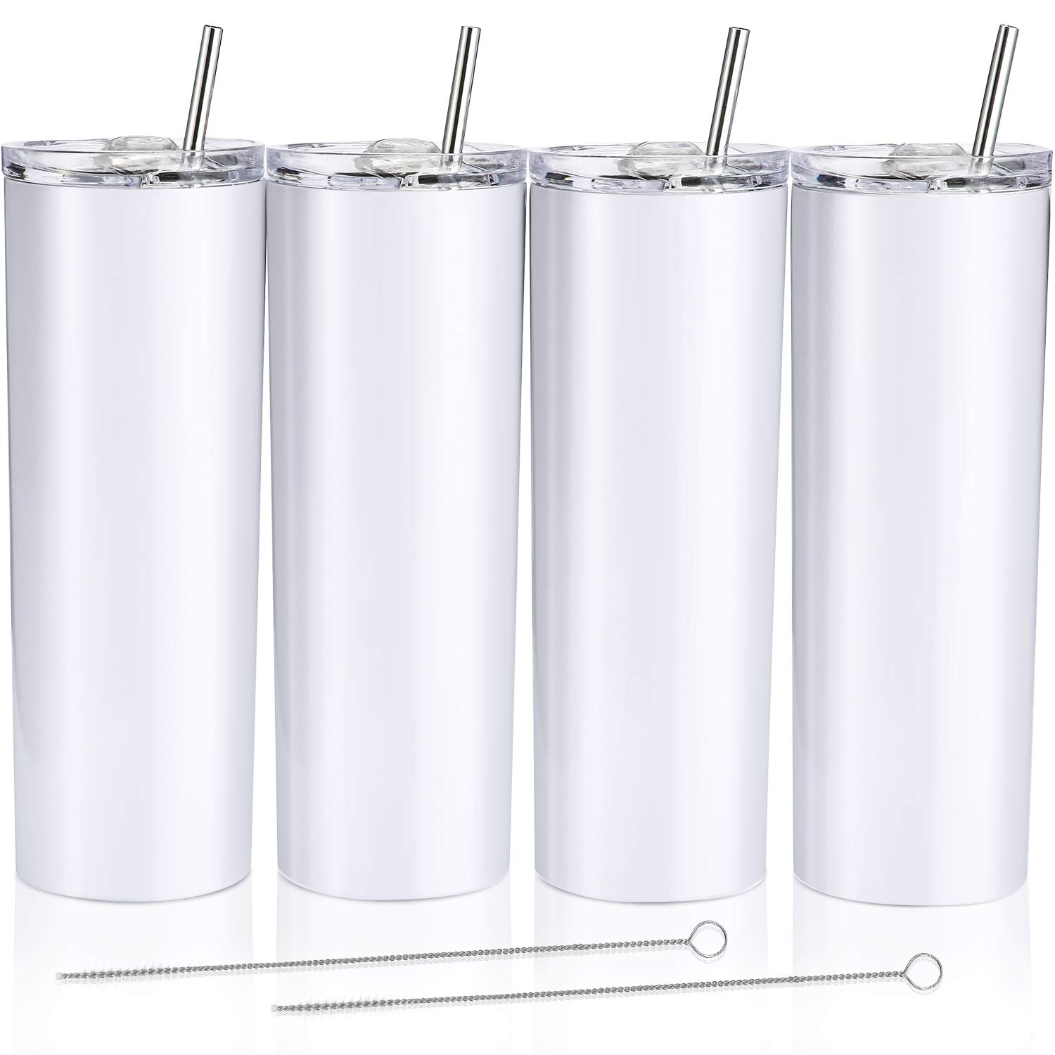 4 Pack Classic Tumbler Stainless Steel Double-Insulated Water Tumbler Cup with Lid and Straw Vacuum Travel Mug Gift with Cleaning Brush (White, 20 oz)