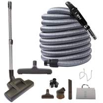OVO Central Vacuum Deluxe Plus Kit, With 30ft Low-Voltage hose, ON/OFF Control at the handle, Air driven Carpet Beater, 12'' floor brush and accessories, For hard surfaces and carp, Black & Grey