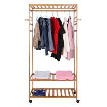LOSY PET 3-Tier Garment Rack, Heavy Duty Wood Shelving Garment,Rolling Clothing Coat Shoes Bags Rack with Clothes Rods and Lockable Wheels Durable Side Hooks