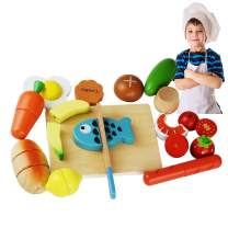 GYBBER&MUMU Wooden Kitchen Play Food Desserts Fruits Cutting Set Preschool Educational Slicing Kitchen Toy 15 Pcs for 18m+