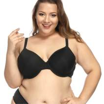 Hotvivid Plus Size Bra Black Minimizer Underwire Bras Full Coverage Molded Cup for Women
