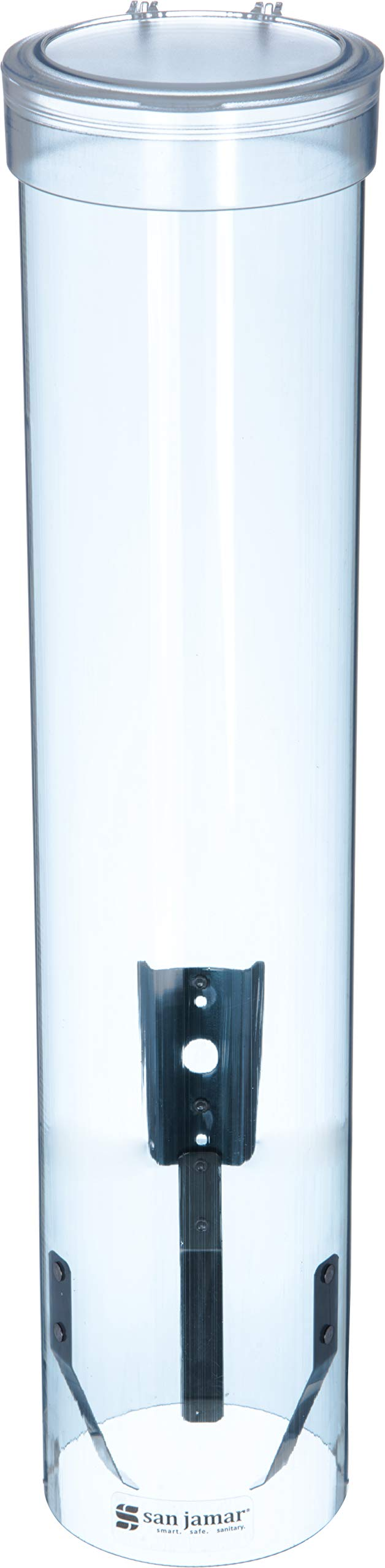 "San Jamar C3165TBL C3165FBL Medium Pull Type Water Cup Dispenser, Fits 4 to 10 oz Cone and Flat Bottom Cups, 16"" Tube Length, Transparent Blue"