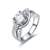 Zetaur 925 Sterling Silver Created Emerald Quartz 3 Stone Round Brilliant Cut CZ Triple Row Band Ring Wedding Engagement Anniversary Statement Eternity Women's Ring