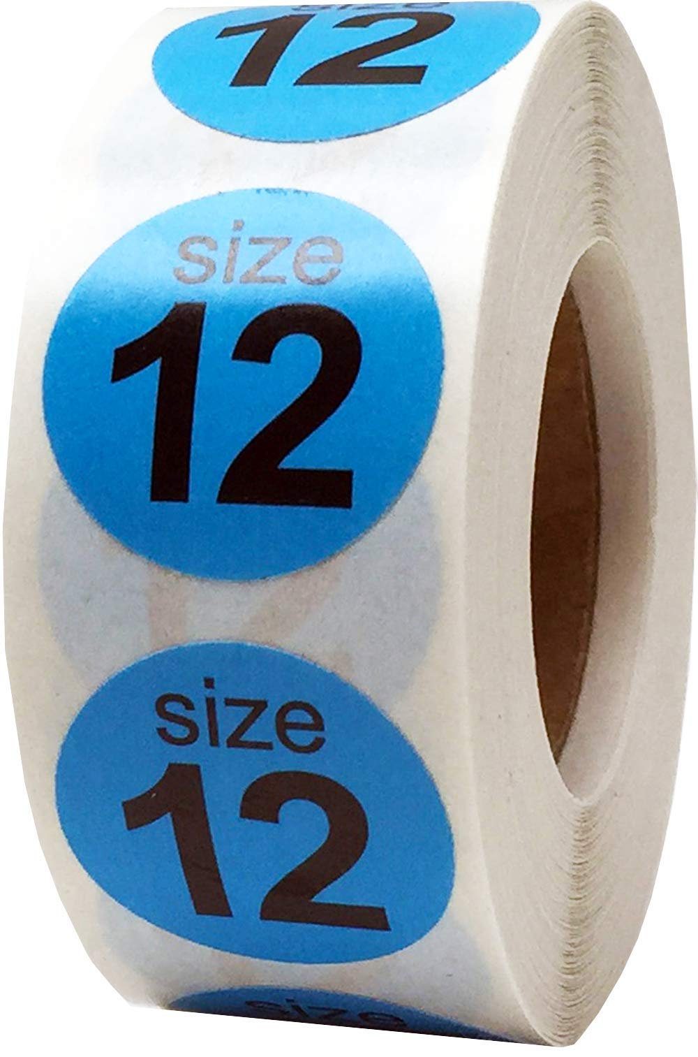 Shoe Size 12 Hot Blue Stickers for Retail Clothing 0.75 Inch 500 Total Adhesive Labels