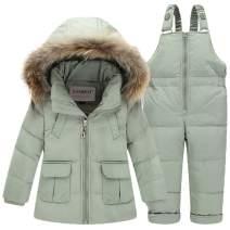 SANMIO Toddler Baby Girls Two Piece Snowsuit, Cute Winter Hooded Puffer Down Jacket Coat with Ski Bib Pants