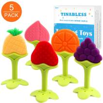 Teething Toys (5 Pack) - Tinabless Infant Teething Keys Set, BPA-Free, Natural Organic Freezer Safe for Infants and Toddlers, Silicone Baby Teethers