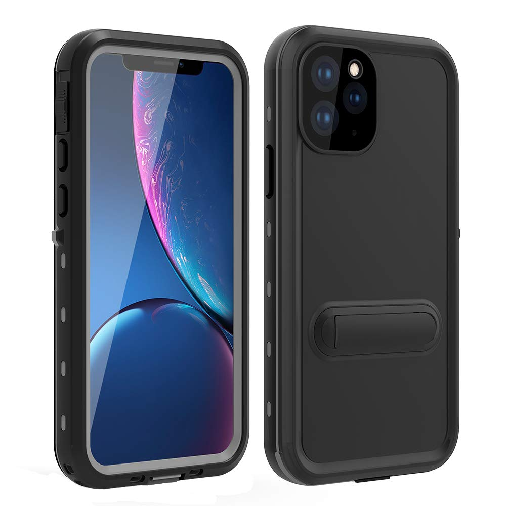 HYAIZLZ iPhone 11 Case Waterproof Kickstand Phone Case Full Body Heavy Duty Protection with Built-in Screen Protector Back Cover for iPhone 11 6.1 inch,Black