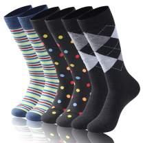 Diwollsam Crew Fashion Dress Socks, Mens Womens Business Mid Calf Colorful Fun Casual Slipper Wedding Socks 6/12 Pairs