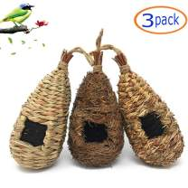 Tfwadmx Hummingbird House, Pack of 3 Grass Bird Hut, Hand Woven Hanging Birdhouse Outside Roosting Pocket Nest for Hummingbird Wren Sparrow Wicker Finch Chickadee