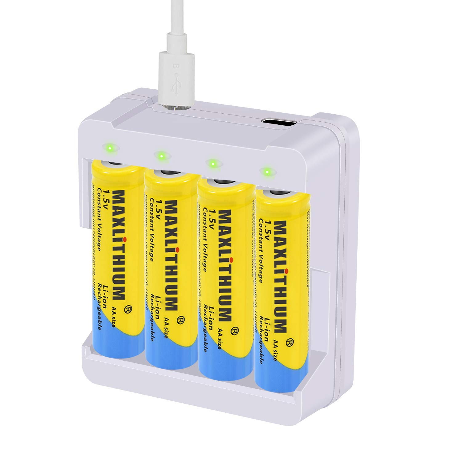AA Rechargeable Batteries Lithium-ion, 1.5v Constant Voltage Output Double A Battery, 2800 mWh,4 Count with Charger, Maxlithium