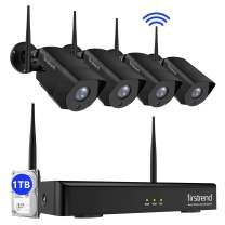Security Camera System Wireless,Firstrend 8CH 1080P Wireless Security Camera System with Night Vision and 4pcs Waterproof Camera,Plug and Play Home Security Camera System with 1TB Hard Drive Free App