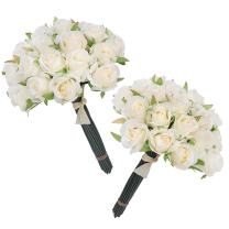 Easin Wedding Flower Artificial Flowers for Room Home Hotel Party Event Decoration Silk Mini Rose Bud 2 Set (Ivory)