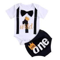 Baby Boy First Birthday Outfit Infant Wild One Boy Bow Tie Short Sleeve Romper+Shorts Bodysuit Cake Smash Outfits