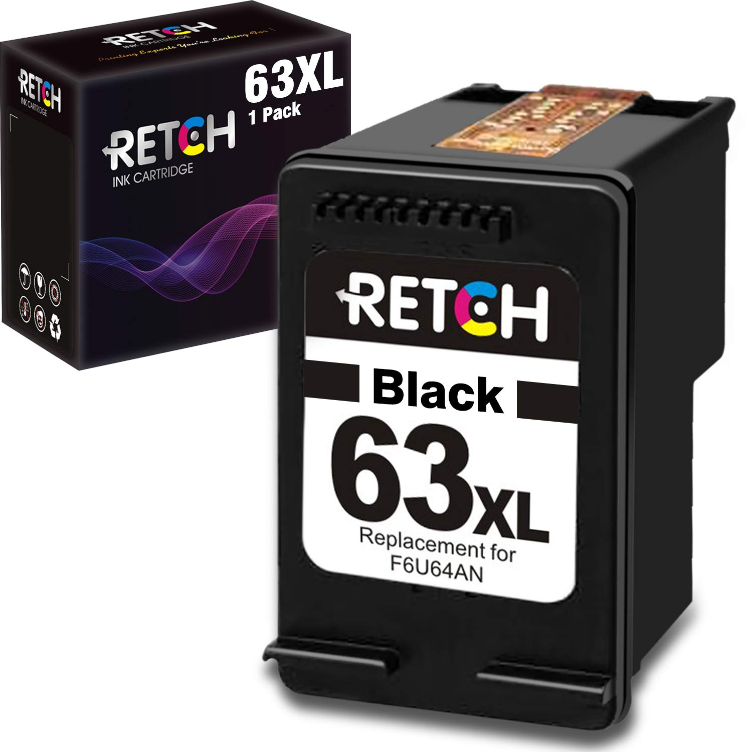 RETCH Re-Manufactured Ink Cartridge Replacement for HP 63XL 63 XL for HP Envy 4520 4516 Officejet 5255 5258 5220 3830 4650 3831 3833 4655 DeskJet 1112 3630 3632 3633 3634 2130 2132 (1 Black)