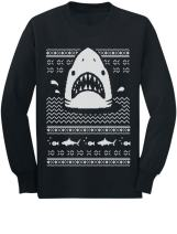Great White Shark Ugly Christmas Sweater Youth Kids Long Sleeve T-Shirt