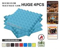 "Acepunch 4 Pack BABY BLUE Pyramid Acoustic Foam Panel DIY Design Studio Soundproofing Wall Tiles Sound Insulation 19.6"" x 19.6"" x 1.9"" AP1034"