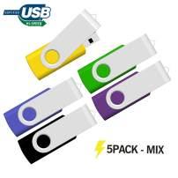 16GB USB Flash Drive 5 Pack, USB Drive 16GB 5 PCS Memory Stick JBOS Swivel Thumb Drives Gig Stick USB2.0 Pen Drive for Fold Digital Date Storage Jump Drive (Yellow-Green-Blue-Purple-Black)