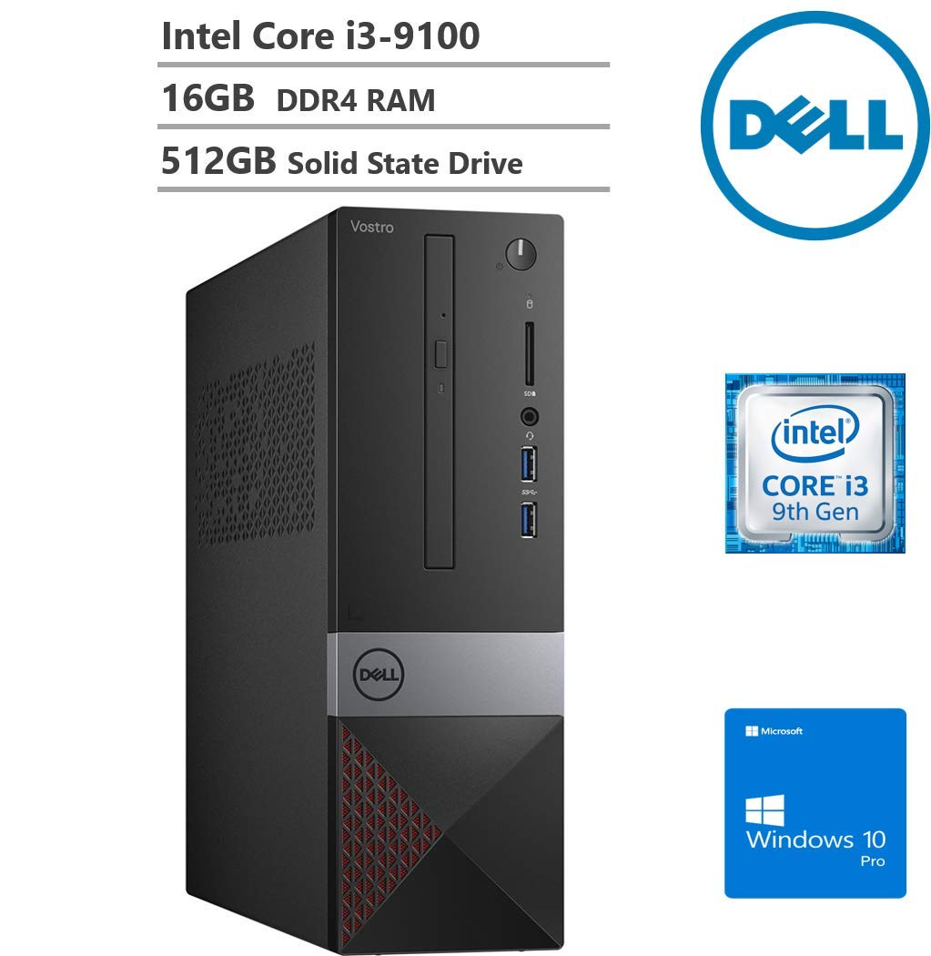 KKE Upgrades Newest Vostro 3471 Small Business Desktop, Intel Core i3-9100, 16GB DDR4 RAM, 512GB SSD, WiFi, Bluetooth, HDMI, VGA, DVD-RW, Multi-Card Reader, Windows 10 Pro