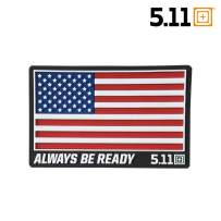 5.11 Tactical USA Patch, Apparel Compatible, Laser-Cut Size, Easy On/Off Attachment, Style 81024