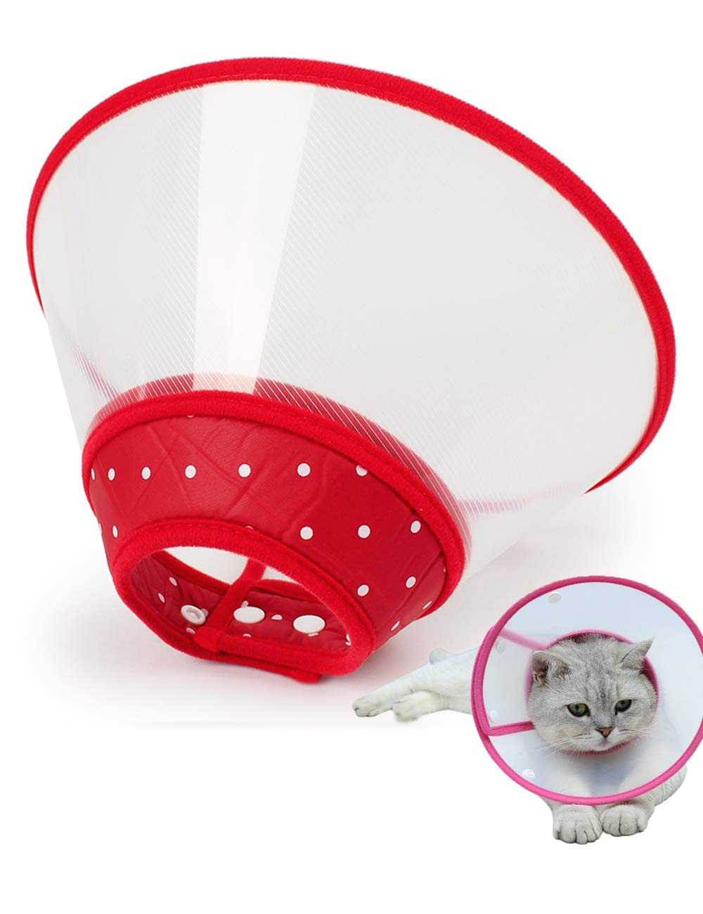 Xqpetlihai Adjustable Recovery Collars & Cones for Small Dogs & Cats,with Soft Edge Anti-bite Lick Wound Healing Safe and Practical Plastic Electronic Collar for Dogs and Cats (M, RED)