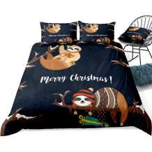 ADASMILE A & S Sloth Bedding Set Christmas Duvet Cover Lazy Sloth with Merry Christmas Words Cartoon Print for Kids, Decorative 2 Piece Bedding Set with 1 Pillow Shams, Twin Size