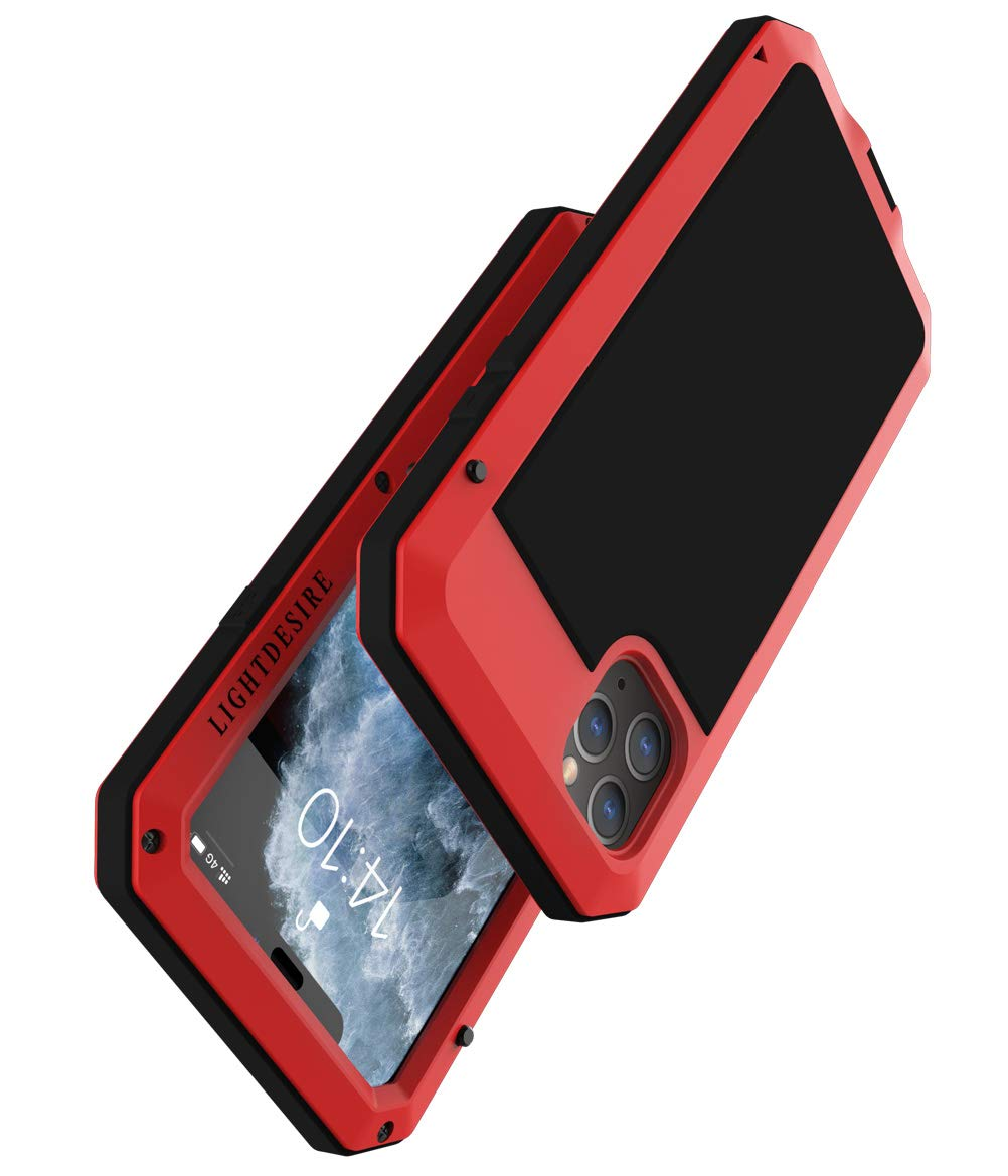 iPhone 11 Pro Max Metal Case, Heavy Duty 5.5 Inch LIGHTDESIRE Aluminum Protective Metal Extreme Water Resistant Shockproof Military Bumper Cover Shell - Red