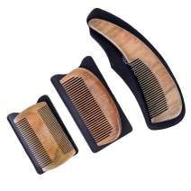 ZEUS Hand Polished Organic Sandalwood Comb Set with Leather Sheath for Mustache, Beard, and Hair - Best 3 Piece Set - Fine and Medium Teeth
