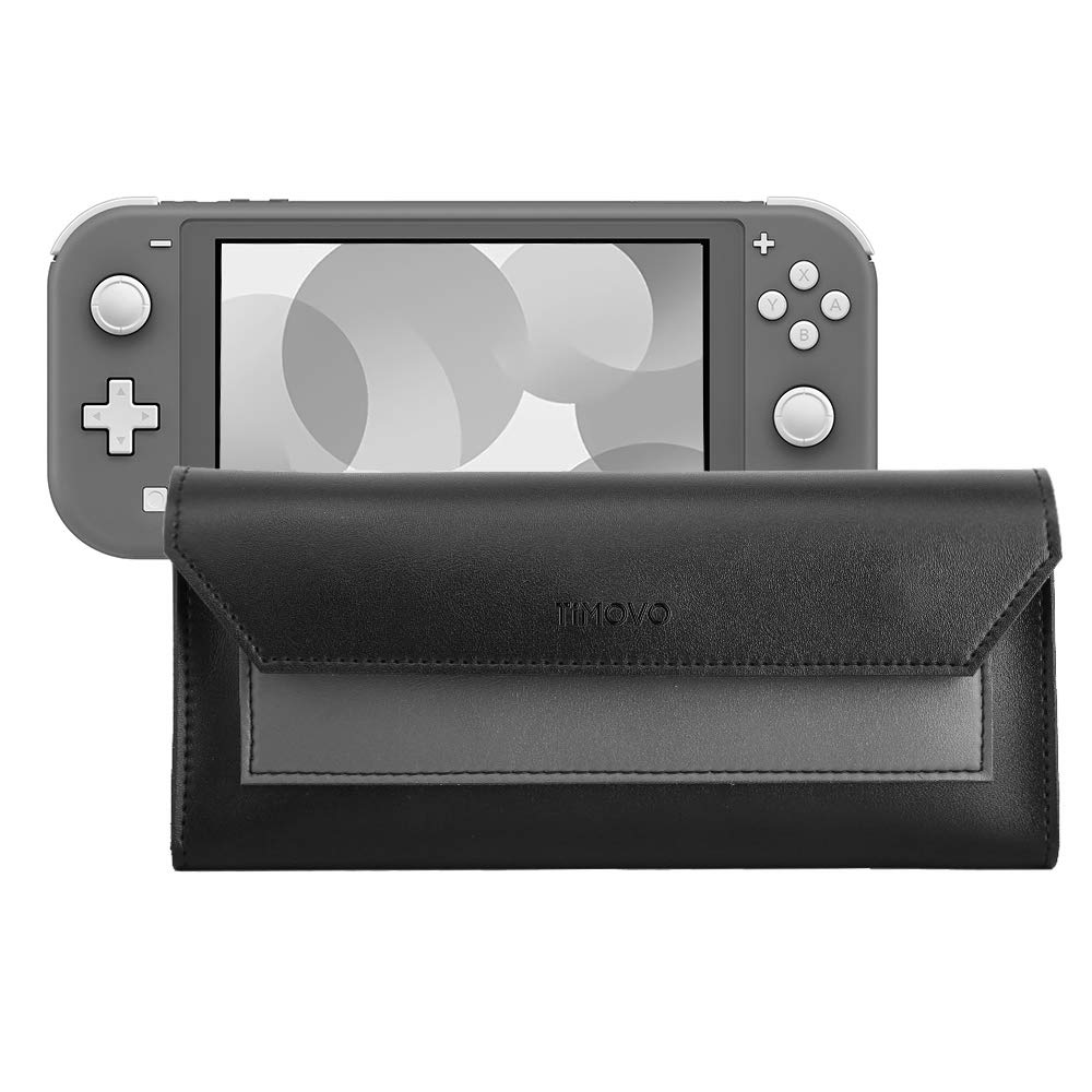 TiMOVO Slim Leather Case for Switch Lite, Travel Carrying Pouch Protective Storage Bag with Game Cartridges Holders and Magnetic Clasp for Switch Lite - Black + Gray