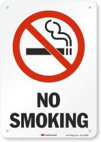 "SmartSign 3M Engineer Grade Reflective Sign, Legend ""No Smoking"" with Graphic, 10"" high x 7"" wide, Black/Red on White"