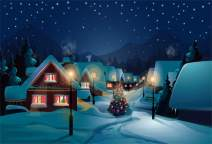 Laeacco Cartoon Fairytale Snowy Small Village Street Backdrop Vinyl 5x3ft Tranquil Night Starry Sky Old Road Lanterns Xmas Tree Photography Background Xmas Party Banner Child Baby Adult Portrait Shoot
