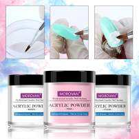 Nail Acrylic Powder White Pink And Clear Acrylic Powder For Nails Professional Kit 4.2 oz Bottle 3 Pcs Set