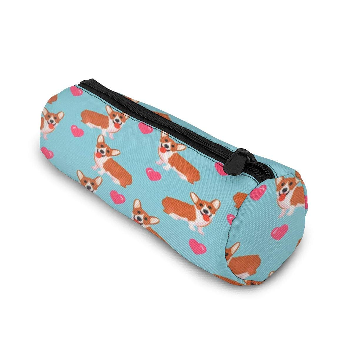 Pencil Case with Zipper, Hearts Corgi Dog Middle Capacity Pen Case Durable Pen Bag Office Stationery Bag Portable Cosmetic Bag for Girls Boys and Adults